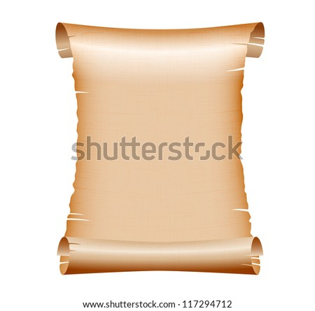 old blank scroll paper on white background. vector illustration - stock vector