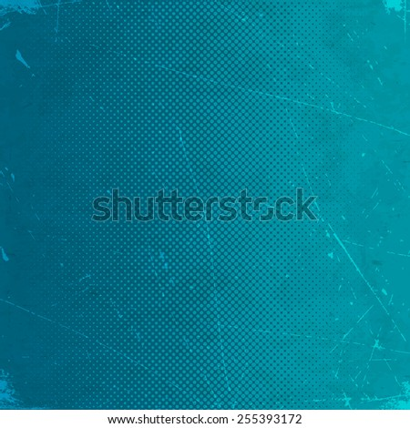 Old blue scratched paper card with halftone gradient - stock vector