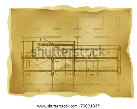 Old Blueprint - stock vector