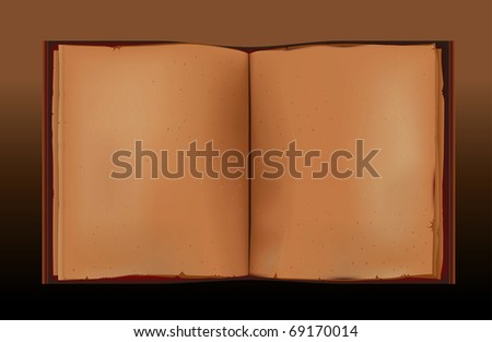 Old book and empty pages. Vector illustration. - stock vector