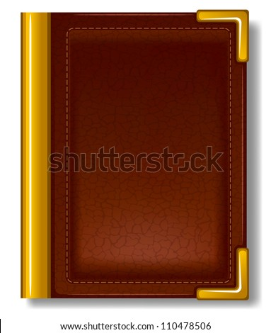 Old book in leather cover and with golden decoration. - stock vector