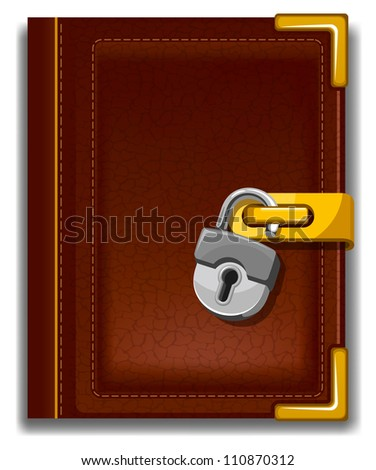 Old book in leather cover with golden decoration and padlock. - stock vector