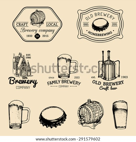 Old brewery logos set. Kraft beer retro signs or icons with hand sketched glass, barrel, mug, kettle, cap. Vector vintage ale, lager labels or badges.