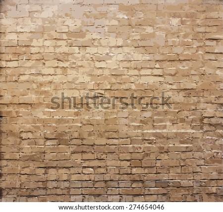 old brick wall texture, vector - stock vector