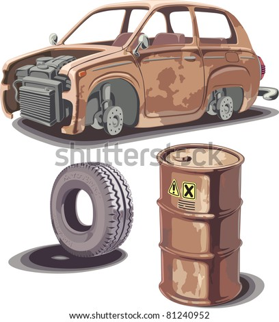 Old broken rusty car, rusty oil barrel and used obsolete tire with a dirty stains... - stock vector