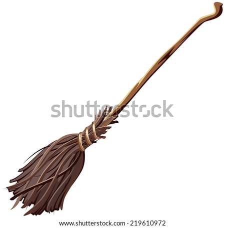 Old broomstick. Illustration isolated in vector format - stock vector