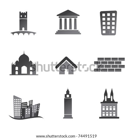 Old building icon set - stock vector