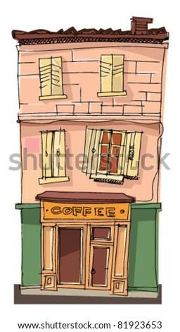 old cafe facade - stock vector