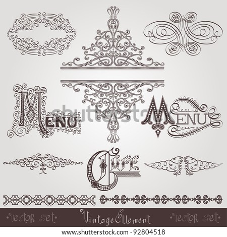 old calligraphic royal element banner - stock vector