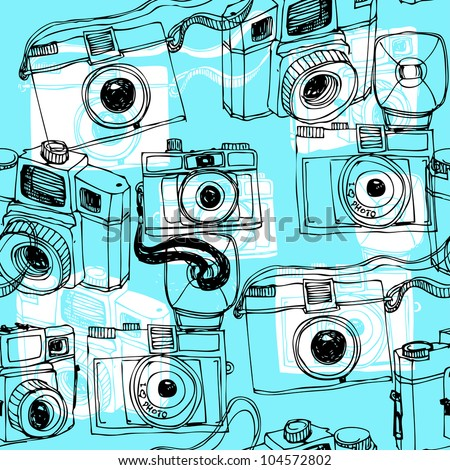 Old camera seamless pattern in vector - stock vector