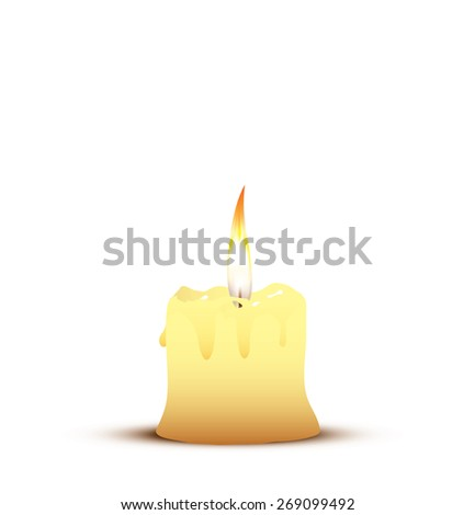 Old candle  - stock vector
