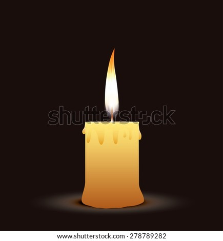old candle on the black background - stock vector