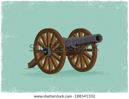 Old Cannon in vintage vector style - stock vector