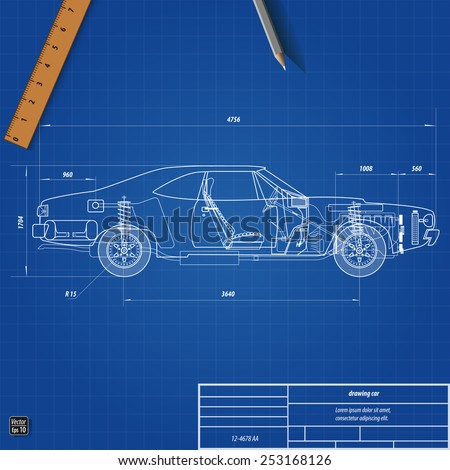Detailed engineering blueprint car vector illustration stock old car blueprint vector illustration eps 10 malvernweather Images