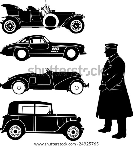 old car collection - vector - stock vector