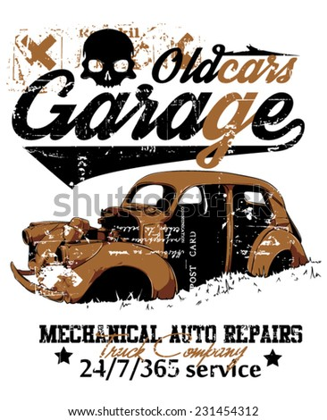 Old car garage - stock vector