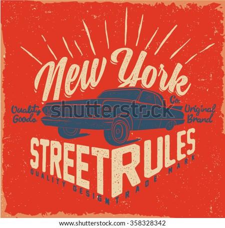 Old car. Retro, Classic.Tee print. Street style. - stock vector