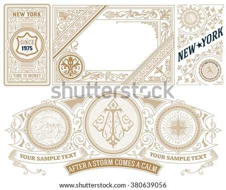 Old Cards Set. Vector - stock vector