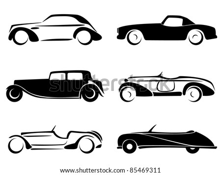 Old cars silhouettes set vector. - stock vector
