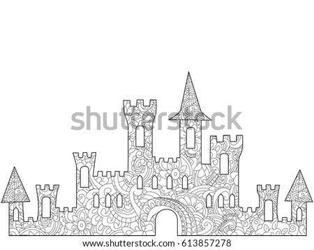 Old Castle Coloring Book Adults Vector Stock Vector (Royalty Free ...