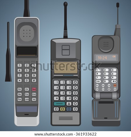 Old Cell Phones vector - stock vector