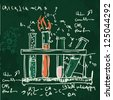 Old chemistry laboratory seamless pattern on dark green school board. Vector background - stock photo