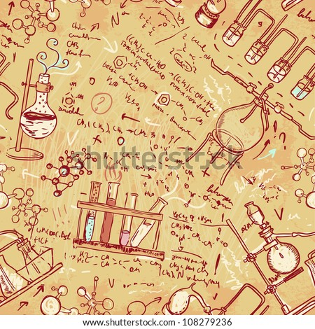 Old chemistry laboratory seamless pattern. Vector background in vintage style - stock vector