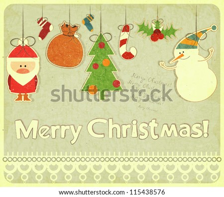 Old Christmas postcard with Christmas-tree decorations. Santa Claus, snowman and Christmas decorations on a Vintage background. Vector illustration. - stock vector