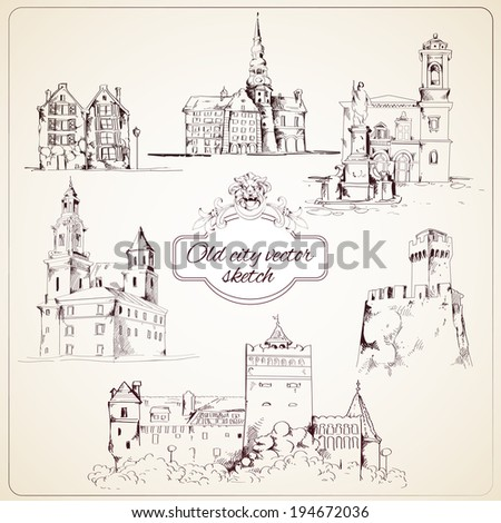 Old city buildings hand drawn decorative elements set isolated vector illustration. - stock vector