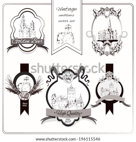 Old city buildings sketch decorative emblems set isolated vector illustration