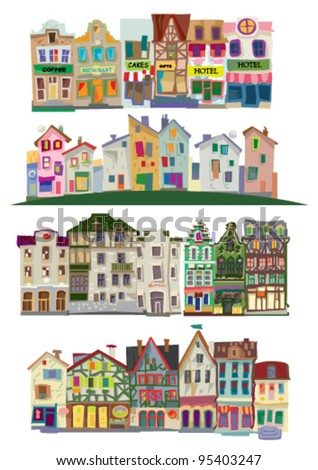 old city facades - big set - cartoon - stock vector