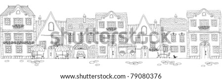 old city facades (line art) - stock vector