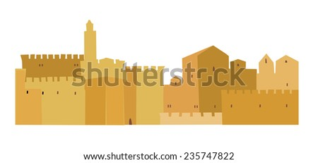 Old City, Middle East Town, Vector Illustration, - stock vector