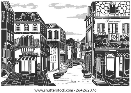 Old city street. Vector Illustration. - stock vector