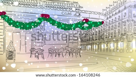 Old city view with cafe with Christmas decorations - stock vector