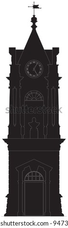 Old clock tower silhouette - stock vector