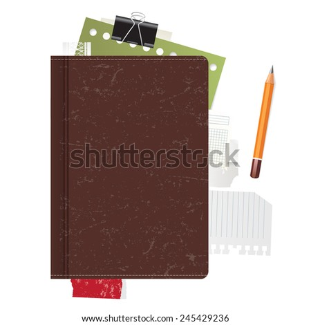 Old closed book on white background - stock vector
