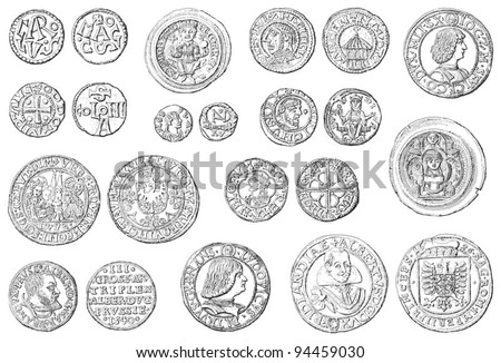 Old coins collection (500-1700) / vintage illustration from Meyers Konversations-Lexikon 1897 - stock vector