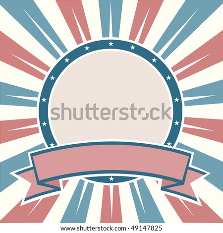 Old Colors American Round Banner - stock vector