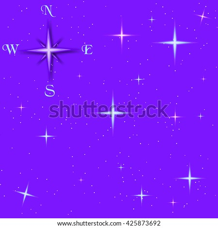 Old compass and the predawn starry sky, vector composition - stock vector