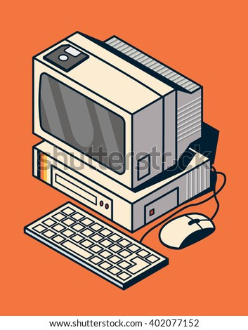Old computer with floppy disk. Vector flat illustration with dark lines