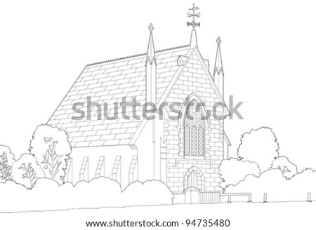 Old country church - stock vector