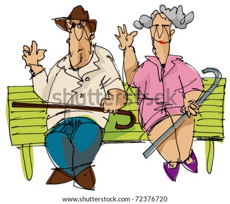 old couple - stock vector
