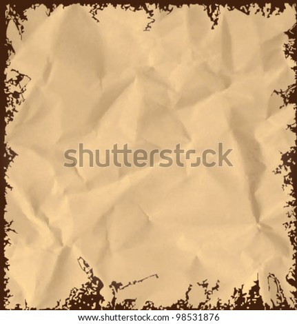 Old crumpled paper background. Vintage vector illustration - stock vector