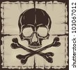 Old damaged map with Skull and Crossbones. Vector illustration. - stock photo