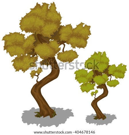 Old deciduous tree with withered leaves. Vector illustration. - stock vector