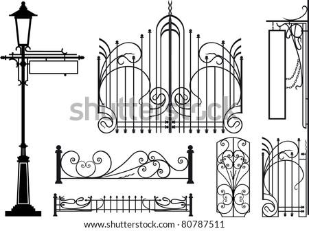 Old design elements of city streets. Silhouettes isolated on white - stock vector
