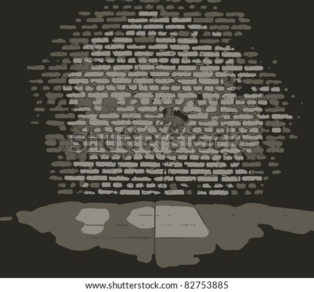 old dirty interior with brick wall, vintage background - stock vector