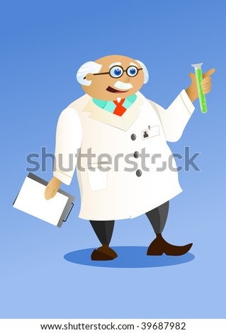 old doctor holding a tube