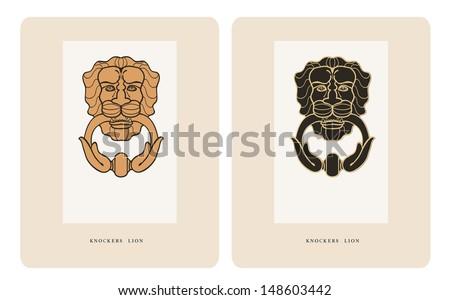 Old Door knocker handle lion two color options - stock vector